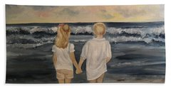 Beach Sheet featuring the painting Brother And Sister by Julie Brugh Riffey