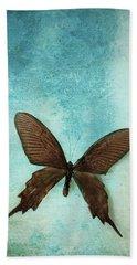 Brown Butterfly Over Blue Textured Background Beach Sheet