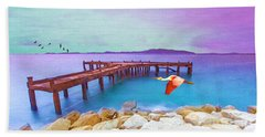 Brown Dock Beach Towel
