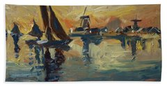 Brown Fleet On The Zaan Beach Towel by Nop Briex