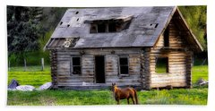 Brown Horse And Old Log Cabin Beach Towel