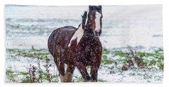 Brown Horse Galloping Through The Snow Beach Towel