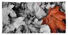 Brown Maple Leaf Beach Towel