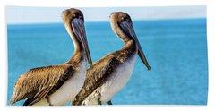 Brown Pelican Pair Beach Towel