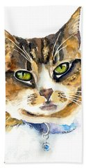 Brown Tabby Cat Watercolor Beach Towel