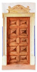 Brown Wood Door Of Old World Europe Beach Sheet