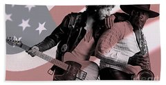 Bruce Springsteen Clarence Clemons Beach Towel by Marvin Blaine
