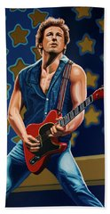Bruce Springsteen The Boss Painting Beach Towel by Paul Meijering