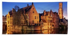 Bruges Architecture At Blue Hour Beach Sheet