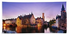 Beach Towel featuring the photograph Bruges At Dusk by Barry O Carroll