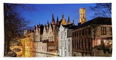 Beach Towel featuring the photograph Bruges Canal At Night by Barry O Carroll