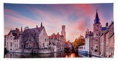 Beach Towel featuring the photograph Bruges Sunset by Barry O Carroll