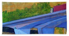 Beach Towel featuring the painting Brunswick River Bridge by Paul McKey
