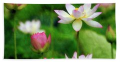 Beach Towel featuring the photograph Brushed Lotus by Edward Kreis
