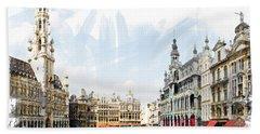 Brussels Grote Markt  Beach Towel by Tom Cameron