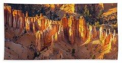 Bryce Canyon Golden Dusk Spires Beach Towel