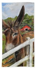 Beach Towel featuring the painting Bubba - Steals The Show -donkey by Jan Dappen