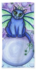 Beach Towel featuring the painting Bubble Fairy Cat by Carrie Hawks