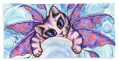 Beach Towel featuring the painting Bubble Fairy Kitten by Carrie Hawks