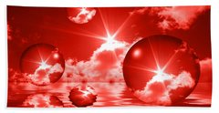 Bubbles In The Sun - Red Beach Towel