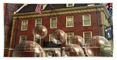 Bubbles Of New York History - Photo Collage Beach Sheet