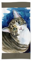Bubbles - Tabby Cat Painting Beach Towel