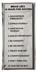 Buce Lee 10 Rules Of Success Beach Towel