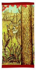 Beach Towel featuring the pyrography Buck And Deer  by Patricia L Davidson
