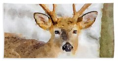 Beach Towel featuring the painting Buck Profile by Steven Santamour