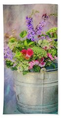 Bucket Of Flowers Beach Towel