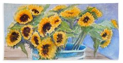Bucket Of Sunflowers Beach Sheet