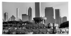 Buckingham Fountain - 2 Beach Towel by Ely Arsha