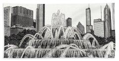 Buckingham Fountain Drawing Beach Towel