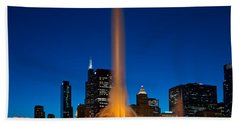 Buckingham Fountain Nightlight Chicago Beach Towel by Steve Gadomski