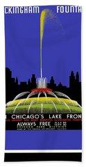 Buckingham Fountain Vintage Travel Poster Beach Towel