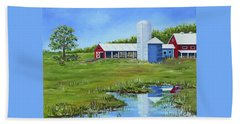 Beach Towel featuring the painting Bucks County Farm by Val Miller
