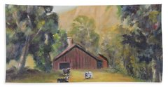 Beach Towel featuring the painting Bucks County Pa Barn by Katalin Luczay