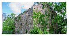 Beach Towel featuring the photograph Bucks County Pa - Bridgetown Millhouse Ruins by Bill Cannon