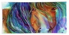 Bucky The Mustang In Watercolor Beach Sheet