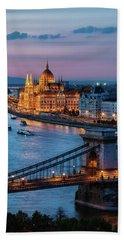 Budapest City At Dusk Beach Towel
