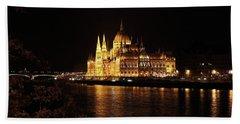 Beach Towel featuring the digital art Budapest - Parliament by Pat Speirs