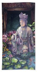 Budda Statue And Pond Beach Towel