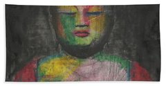 Buddha Encaustic Painting Beach Towel