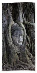 Buddha Head In Tree Beach Sheet