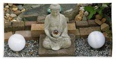 Buddha In The Garden Beach Towel