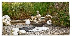 Buddha Looks At Yin And Yang Beach Towel