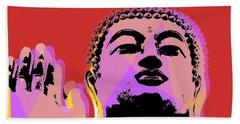 Beach Towel featuring the digital art Buddha Pop Art  by Jean luc Comperat