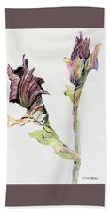 Budding Irises Beach Towel by Mindy Newman
