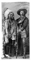 Buffalo Bill Cody And Chief Sitting Bull C. 1890 Beach Sheet by Daniel Hagerman