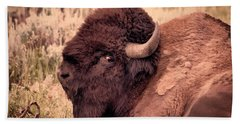 Beach Towel featuring the photograph Buffalo Eye On You by Janice Rae Pariza